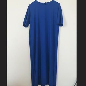 Eileen Fisher royal blue t-shirt midi dress